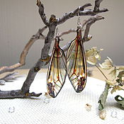 Украшения handmade. Livemaster - original item Transparent Wings Earrings Dragonfly Butterfly Insects Epoxy Resin. Handmade.
