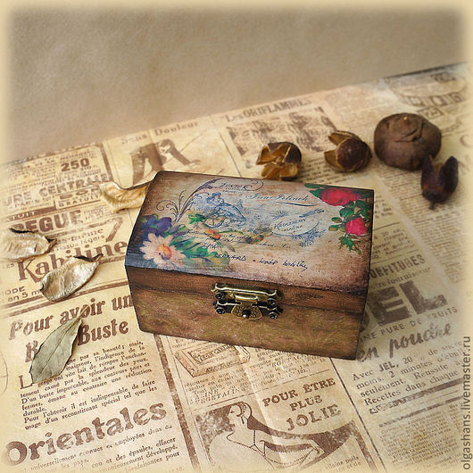 """Шкатулки ручной работы. Ярмарка Мастеров - ручная работа. Купить Шкатулка """"Старая открытка"""". Handmade. Коричневый, шкатулка для мелочей, сундучок"""