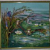 Картины и панно ручной работы. Ярмарка Мастеров - ручная работа Панно -Батик``Лягушки-подружки``. Handmade.
