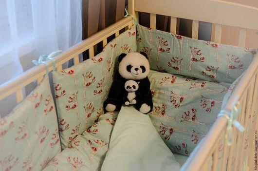 Детская ручной работы. Ярмарка Мастеров - ручная работа. Купить Комплект постельных принадлежностей в детскую кроватку. Handmade. Тёмно-бирюзовый