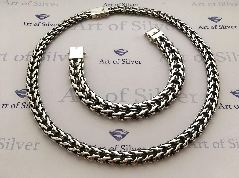 Купить Серебряный комплект Украшения для мужчин, ручной работы. Серебряный  комплект Двойной ручей ( цепочка + браслет) ... c5093b2f6c3
