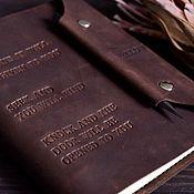 Канцелярские товары handmade. Livemaster - original item Mens leather notebook on the rings pockets hand-sewn seam. Handmade.
