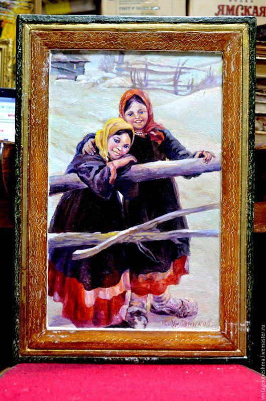 Люди, ручной работы. Ярмарка Мастеров - ручная работа. Купить Картина Калужские крестьянки масло. Handmade. Комбинированный, зимние забавы