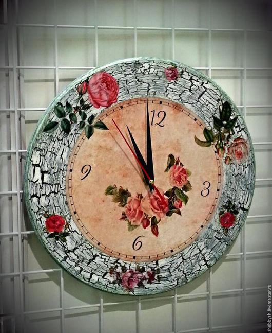 """Часы для дома ручной работы. Ярмарка Мастеров - ручная работа. Купить Часы настенные """"Розы"""" , 30 см. Handmade. Кракелюр"""