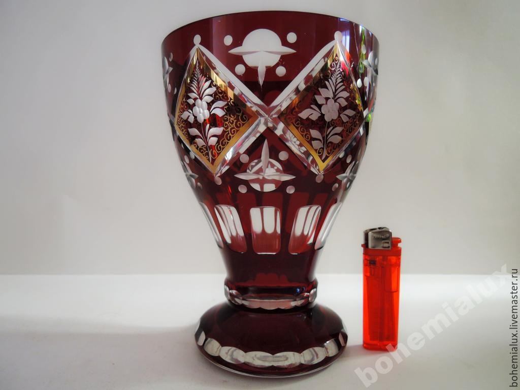 Colored red glass vase hand painted Engraved Egermann 1930-1, Vintage interior, Prague,  Фото №1