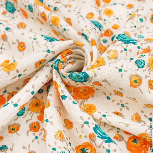 Шитье ручной работы. Ярмарка Мастеров - ручная работа. Купить Лен  плательно-рубашечный яркие цветочки СELIN. Handmade.