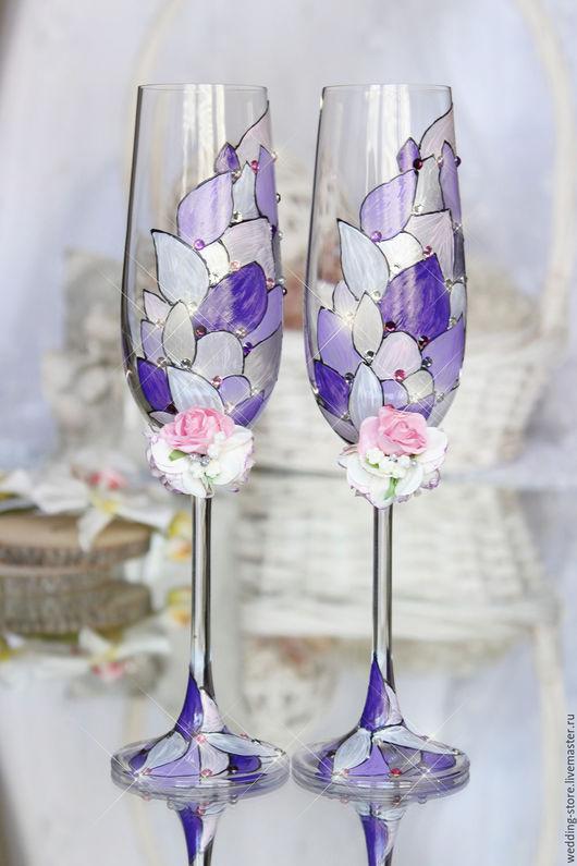 Свадебные аксессуары ручной работы. Ярмарка Мастеров - ручная работа. Купить Свадебные бокалы с витражной росписью, фиолетовые, сиреневые. Handmade.