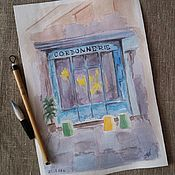 Картины и панно ручной работы. Ярмарка Мастеров - ручная работа Картина акварелью Парижское кафе. Handmade.