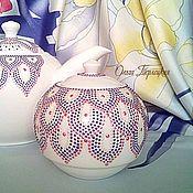 """Посуда ручной работы. Ярмарка Мастеров - ручная работа Сахарница круглая с крышкой """"Орхидея"""" Солонка, серия чайная посуда. Handmade."""