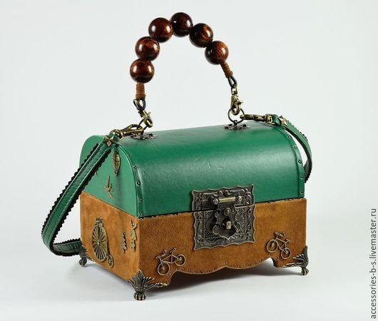 Женские сумки ручной работы. Ярмарка Мастеров - ручная работа. Купить Сумка-шкатулка Green. Handmade. Разноцветный, сумка кожаная