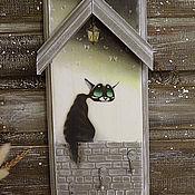 """Для дома и интерьера ручной работы. Ярмарка Мастеров - ручная работа """"Лунный кот"""". Вешалка-ключница. Handmade."""
