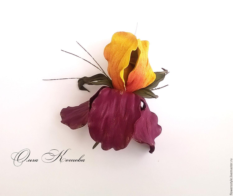 Iris Flower Brooch Leather Eden Gardens Shop Online On Livemaster