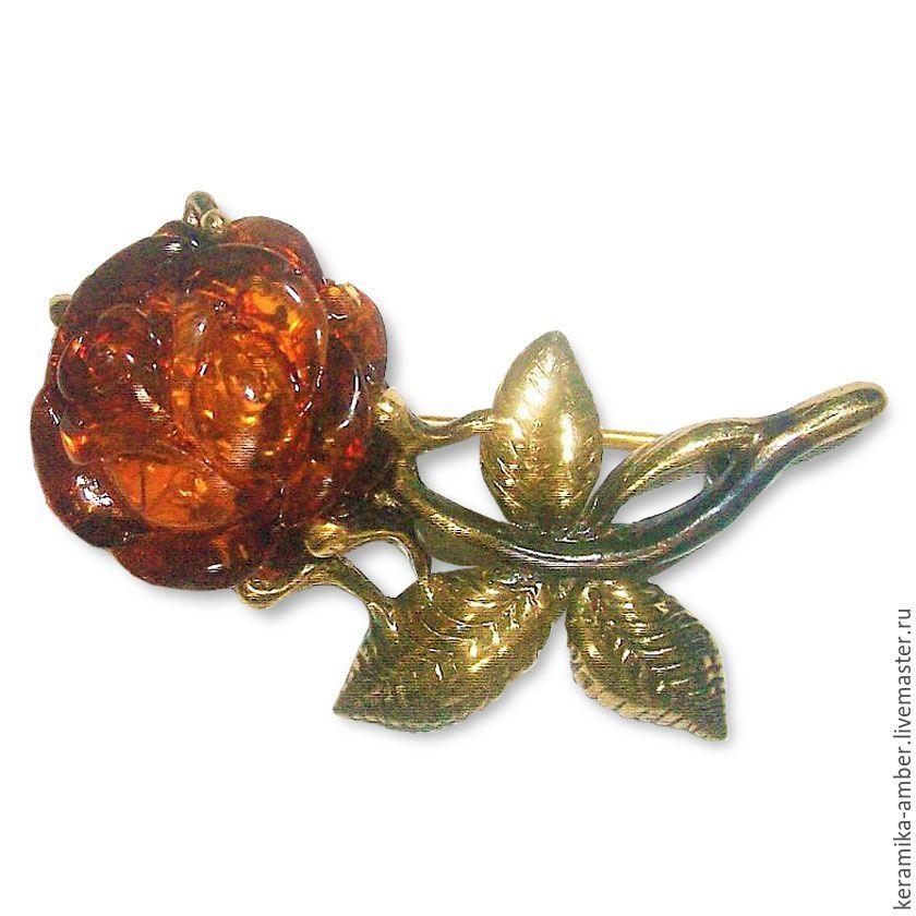 Amber rose brooch flower brooch for woman gift under vintage Burgundy, Brooches, Kaliningrad,  Фото №1