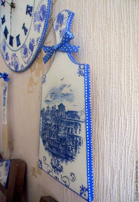 """Кухня ручной работы. Ярмарка Мастеров - ручная работа. Купить Комплект для кухни """"Голландия и Гжель"""". Handmade. Синий, подарок маме"""