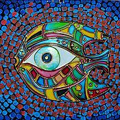 """Картины и панно ручной работы. Ярмарка Мастеров - ручная работа """"Рыба-глаз"""" Витражная картина. Handmade."""