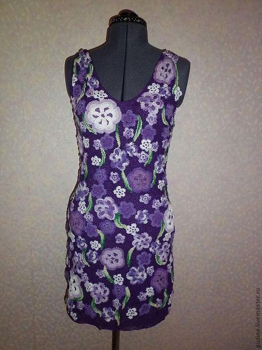 """Платья ручной работы. Ярмарка Мастеров - ручная работа. Купить платье """"сиреневые цветы"""". Handmade. Вязаное платье, нежно-сиреневый"""