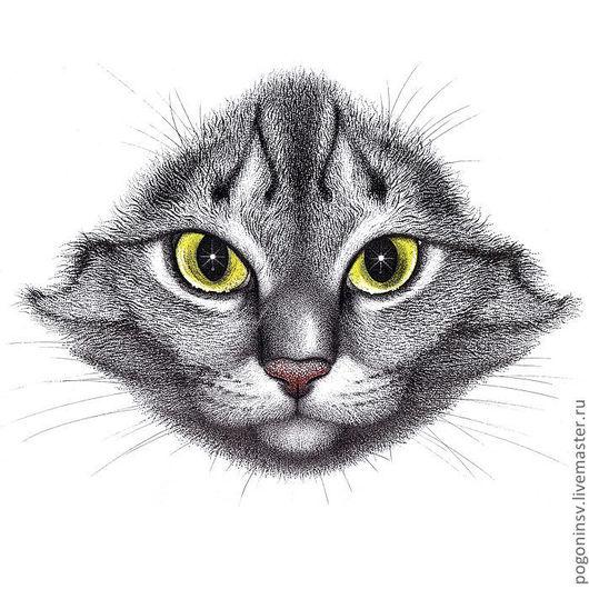 """Животные ручной работы. Ярмарка Мастеров - ручная работа. Купить Картина """"Портрет кота"""". Handmade. Бумага, акварель, тушь, кошка"""