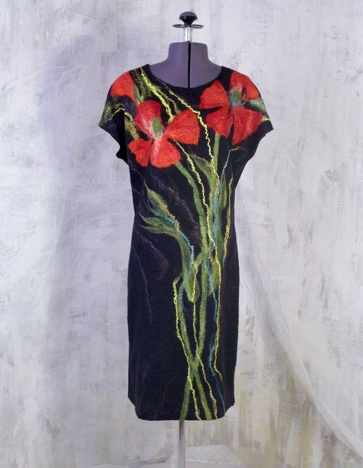 Платья ручной работы. Ярмарка Мастеров - ручная работа. Купить Платье валяное Маки комбинированное трикотажем. Handmade. Платье