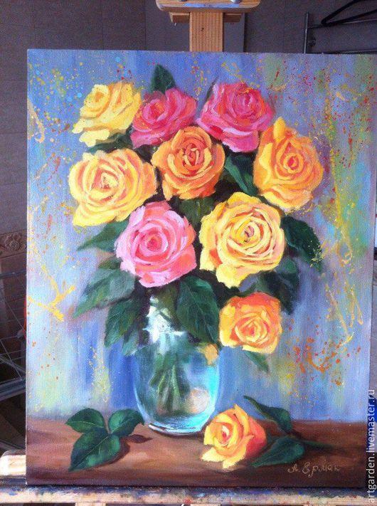 Картины цветов ручной работы. Ярмарка Мастеров - ручная работа. Купить Розы. Handmade. Желтый, подарок, картина с цветами, счастье