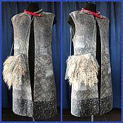 Одежда ручной работы. Ярмарка Мастеров - ручная работа Жилет длинный с сумочкой из флиса ангорской козы,. Handmade.