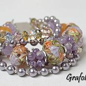 Украшения handmade. Livemaster - original item Bracelet with stones and pearls Irises. Handmade.