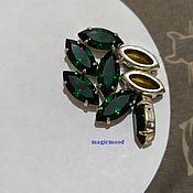 handmade. Livemaster - original item 1 piece Czech rhinestone 15h7mm Emerald Navette rhinestones in DACs. Handmade.
