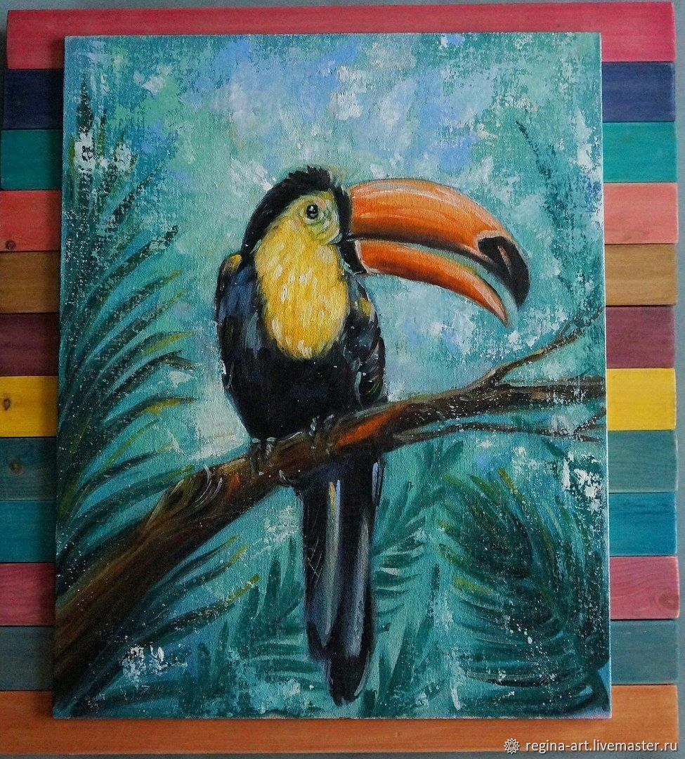 Toucan oil painting.  ' Toucan-exotic bird', Pictures, Kemerovo,  Фото №1