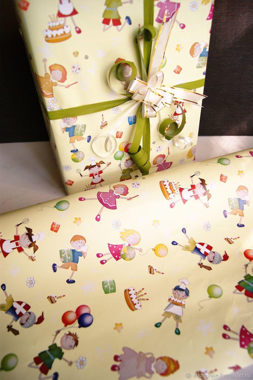 бумага `Веселые дети` упаковочная, рулон 10м