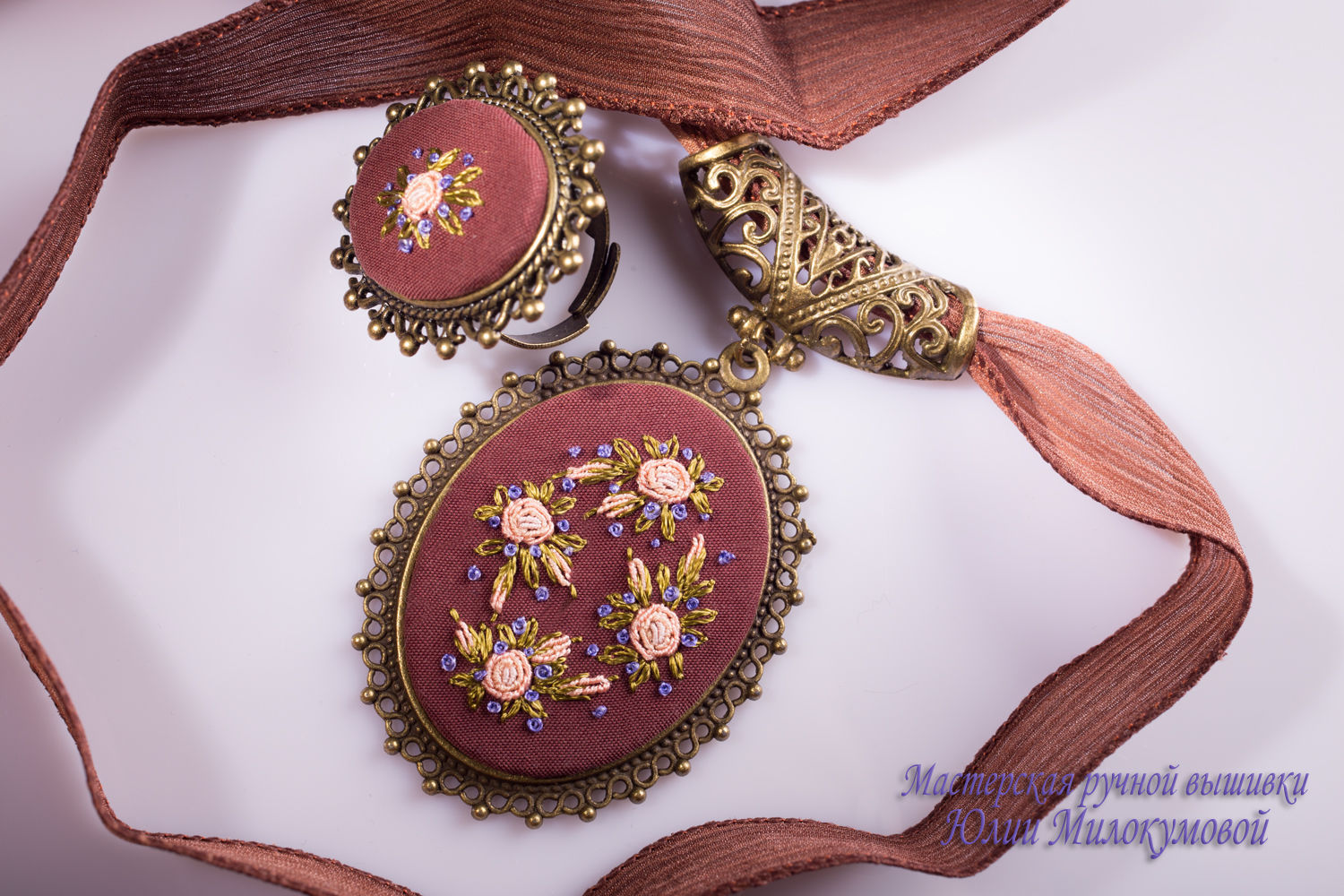 Embroidered set Glue de Dijon (4), Jewelry Sets, Moscow, Фото №1