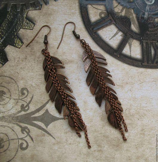 Серьги ручной работы. Ярмарка Мастеров - ручная работа. Купить Серьги Red Feathers. Handmade. Ярко-красный, медные украшения