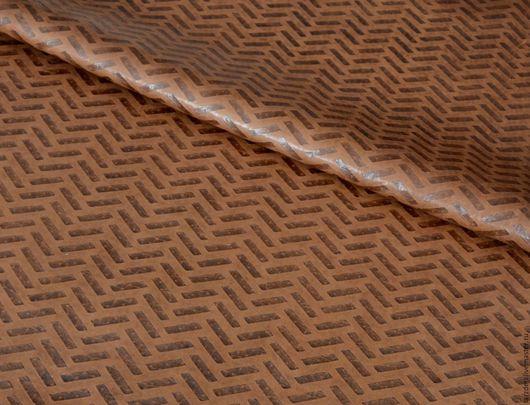 Шитье ручной работы. Ярмарка Мастеров - ручная работа. Купить Натуральная коричневая кожа 0,6 мм - В елочку. Handmade.