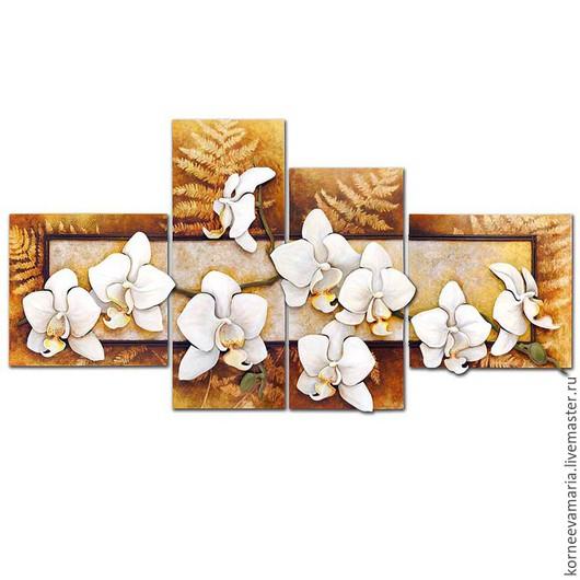 Картины цветов ручной работы. Ярмарка Мастеров - ручная работа. Купить Полиптих «Орхидеи». Handmade. Бежевый, панно на стену, мдф