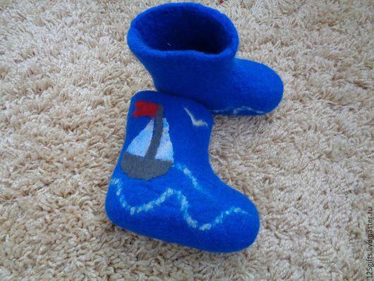 """Обувь ручной работы. Ярмарка Мастеров - ручная работа. Купить Детские валеночки """"Кораблик"""". Handmade. Синий, детские валенки"""
