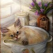 Картины и панно ручной работы. Ярмарка Мастеров - ручная работа Кошка Матильда. Handmade.