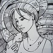 Картины и панно handmade. Livemaster - original item Graphics Serenity, ink, pen, black and white, fantasy, wall. Handmade.