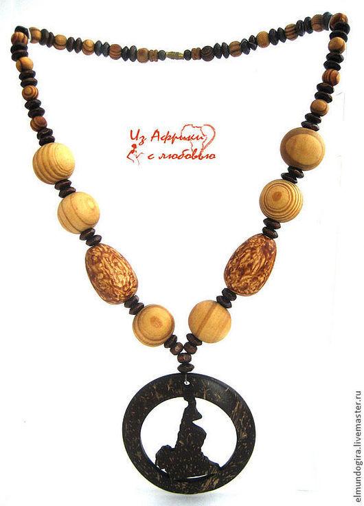 """Колье, бусы ручной работы. Ярмарка Мастеров - ручная работа. Купить Ожерелье   """"Камерун"""". Handmade. Коричневый, дерево, подарок подруге"""