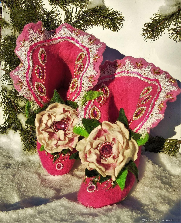 Home felt Slippers 'Pink', Slippers, Ekaterinburg,  Фото №1