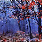 Картины и панно ручной работы. Ярмарка Мастеров - ручная работа Сумерки в лесу 40х25см пейзаж, живопись. Handmade.