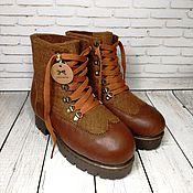 Обувь ручной работы handmade. Livemaster - original item Women`s felt boots brown with leather. Handmade.