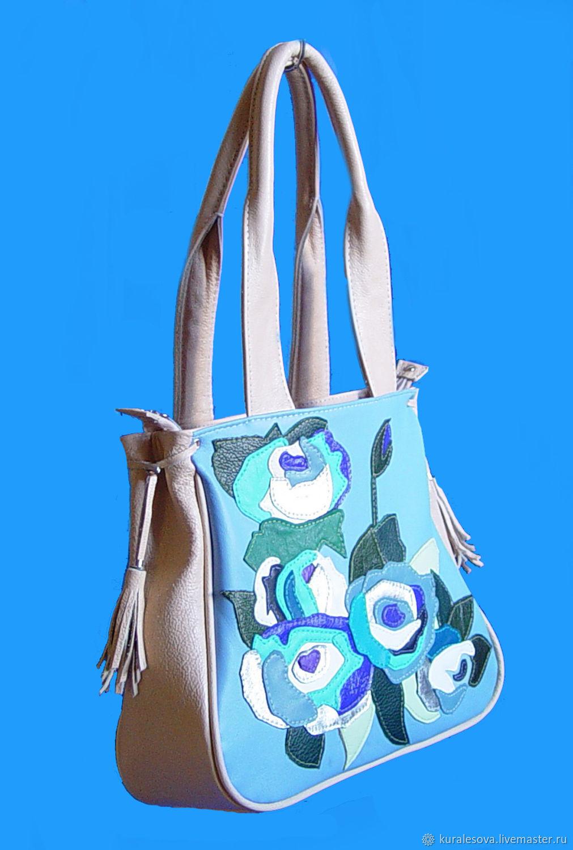 Handbags handmade. Livemaster - handmade. Buy Leather bag 'Blue roses'.Handmade, manual work of authorship, backing cloth