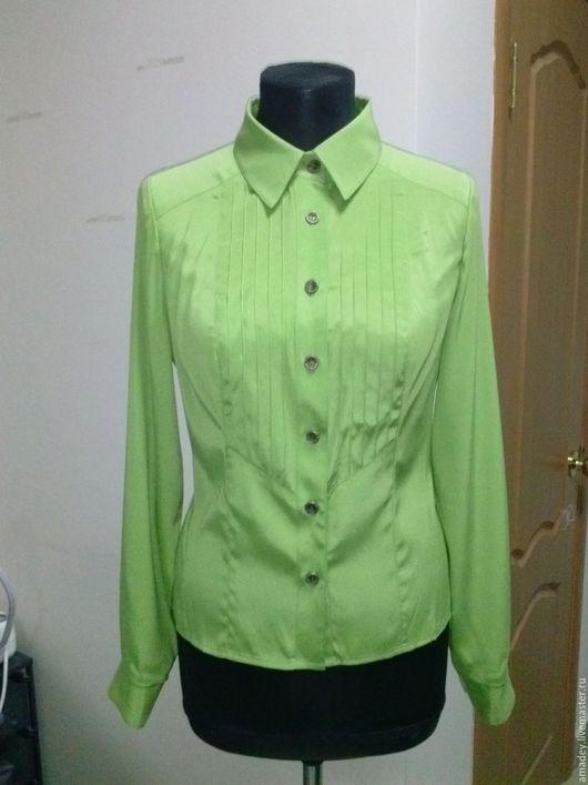 Блузки ручной работы. Ярмарка Мастеров - ручная работа. Купить Блузка 100% шелк. Handmade. Салатовый, блузка женская