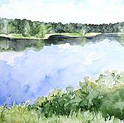 Картины и панно ручной работы. Ярмарка Мастеров - ручная работа Акварель Пейзаж у реки. Handmade.