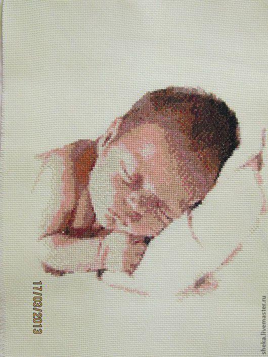 """Подарки для новорожденных, ручной работы. Ярмарка Мастеров - ручная работа. Купить Детская метрика"""" На подушке"""" .Вышивка крестом. Handmade."""