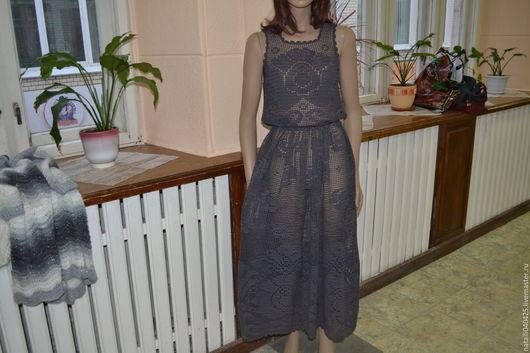 Платья ручной работы. Ярмарка Мастеров - ручная работа. Купить сарафан филейный цветок. Handmade. Серый, Вязание крючком