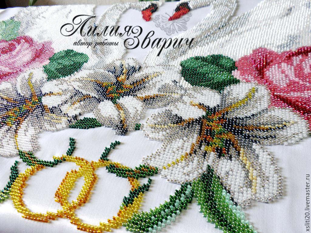 Вышивка бисером рушник свадебный 18