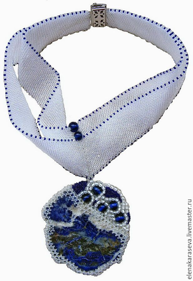 """Necklace of beads and lapis lazuli """"Blue sky"""", Necklace, Moscow,  Фото №1"""