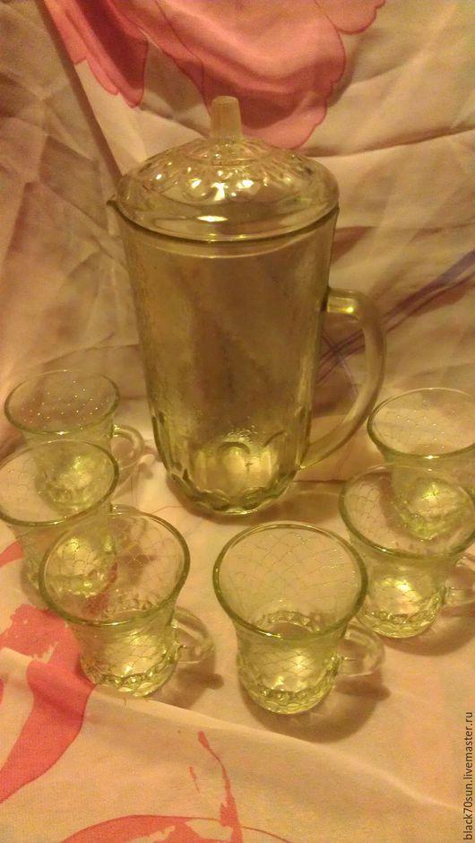 Винтажная посуда. Ярмарка Мастеров - ручная работа. Купить Стеклянный кувшин и чашки.. Handmade. Белый, кувшин