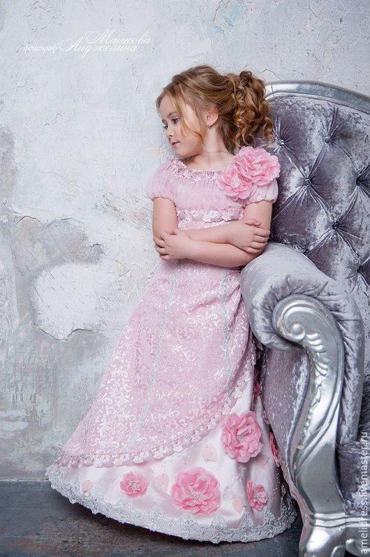 Одежда для девочек, ручной работы. Ярмарка Мастеров - ручная работа. Купить Розовое платье с розами. Handmade. Бледно-розовый