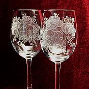 Посуда handmade. Livemaster - original item Wild rose color. Glasses. Handmade.