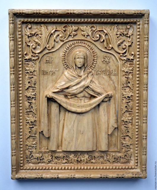 Иконы ручной работы. Ярмарка Мастеров - ручная работа. Купить Резная икона из дерева Покров Пресвятой Богородицы  170х210 мм. Handmade.
